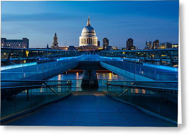 New Britain Greeting Cards - Millenium Bridge Blue Hour II Greeting Card by Adam Pender