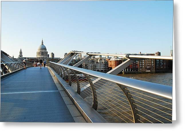 Famous Bridge Greeting Cards - Millennium Bridge Greeting Card by Wojciech Olszewski