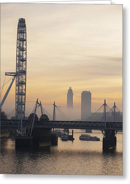 London Eye River Cruise Greeting Cards - Millenium Wheel At Sunset_ London Greeting Card by Charles Bowman