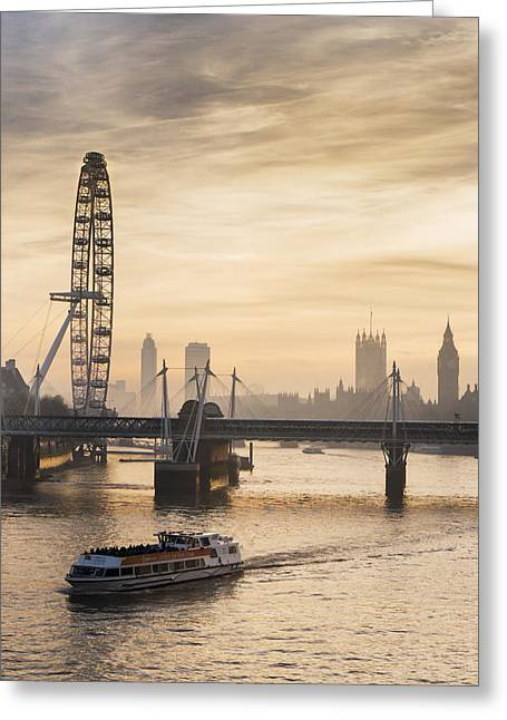 Boat Cruise Photographs Greeting Cards - Millenium Wheel With Big Ben_ London Greeting Card by Charles Bowman