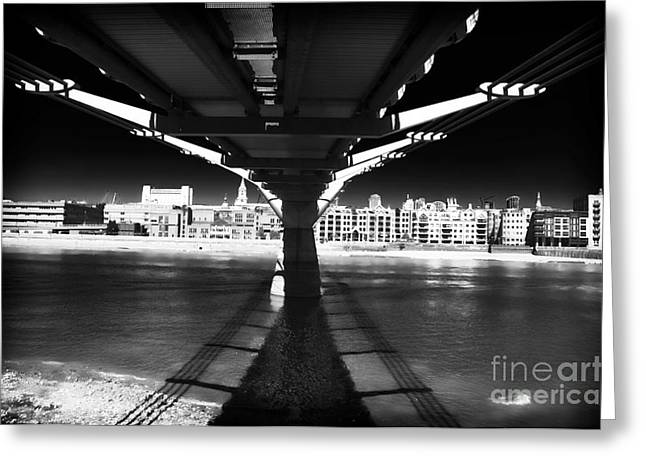 Lack And White Greeting Cards - Millennium Bridge Shadows Greeting Card by John Rizzuto