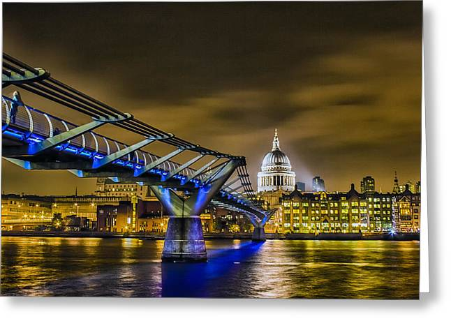 Thames River Greeting Cards - Millennium Bridge with St pauls Greeting Card by Ian Hufton