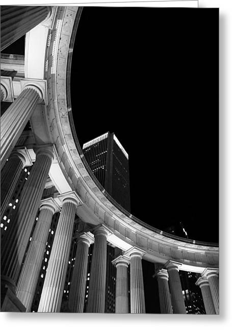 Magnificent Mile Greeting Cards - Millennium Monument at Night - BW Greeting Card by Jenny Hudson