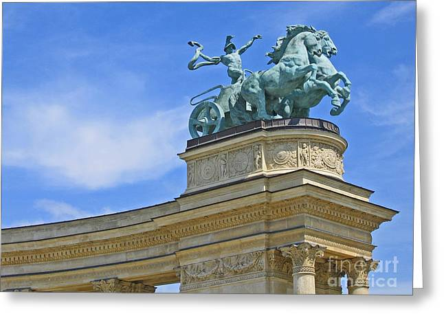 Whip-snake Greeting Cards - Millennium Monument Budapest Greeting Card by Ann Horn