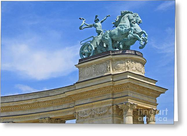 Millennium Monument Budapest Greeting Card by Ann Horn