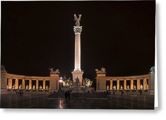 Liberation Greeting Cards - Millennium Monument Budapest Night Greeting Card by Joan Carroll