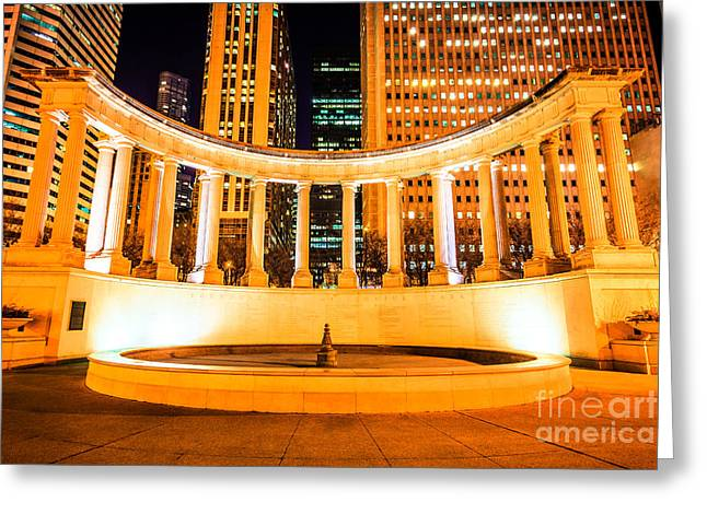 Millennium Park Greeting Cards - Millennium Monument Fountain in Chicago Greeting Card by Paul Velgos