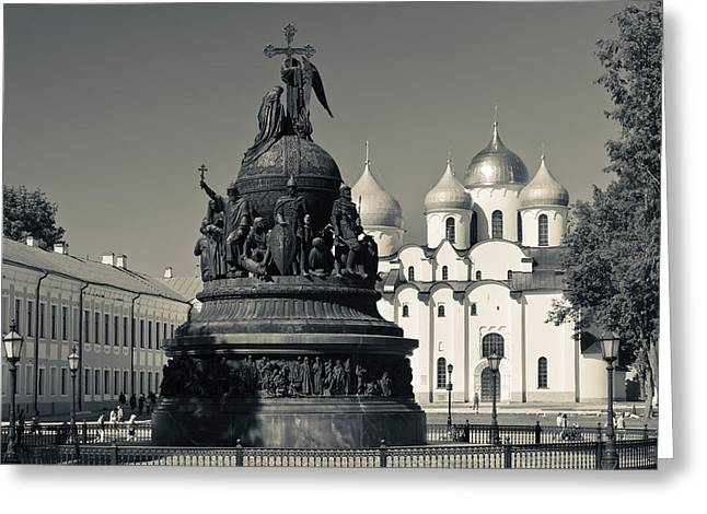 Russian Orthodox Greeting Cards - Millennium Of Russia Monument Greeting Card by Panoramic Images