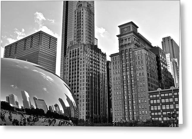 Town Square Greeting Cards - Millennium Park Black and White Greeting Card by Frozen in Time Fine Art Photography