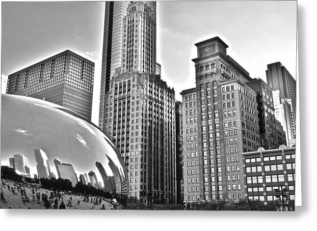 The Bean Greeting Cards - Millennium Park in Black and White Greeting Card by Frozen in Time Fine Art Photography