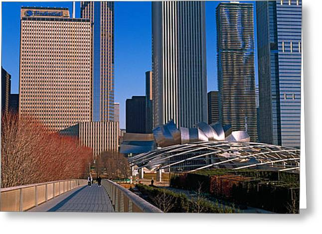 Chicago Loop Greeting Cards - Millennium Park With Buildings Greeting Card by Panoramic Images