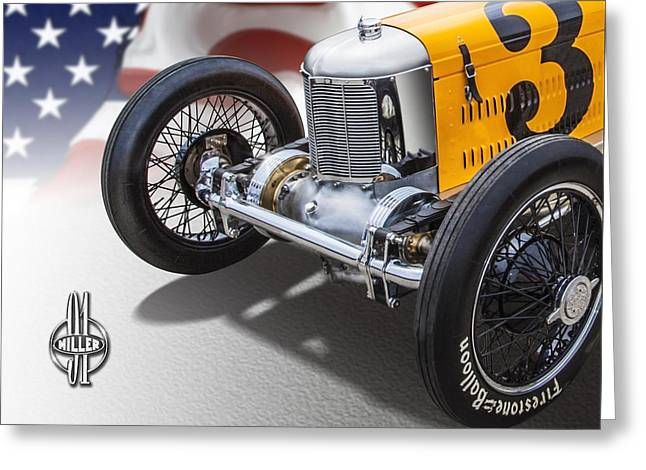 Indy Car Greeting Cards - Miller 91 with badge Greeting Card by Ed Dooley