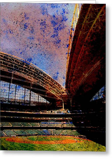 Miller Park Greeting Cards - Miller Park 2 w paint Greeting Card by Anita Burgermeister
