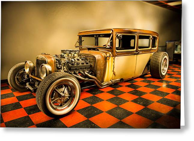 Hot Shop Greeting Cards - Millers Chop Shop 1929 Dodge Victory Six After Greeting Card by Yo Pedro