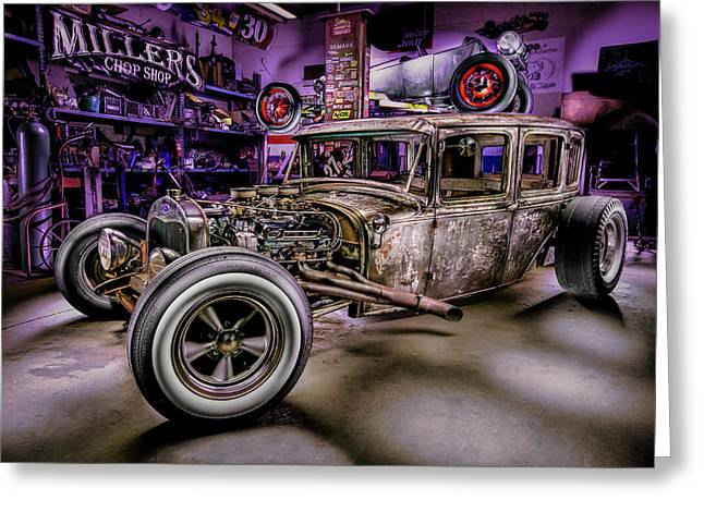 Rusted Cars Greeting Cards - Millers Chop Shop 1929 Ford Murray Greeting Card by Yo Pedro