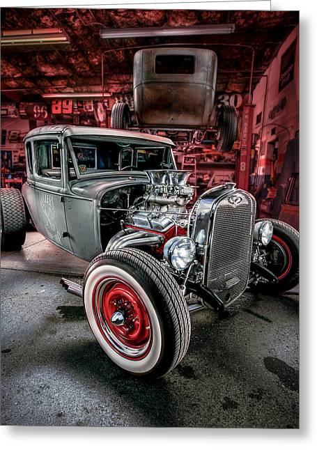 Rusted Cars Greeting Cards - Millers Chop Shop 1931 Ford Coupe Greeting Card by Yo Pedro