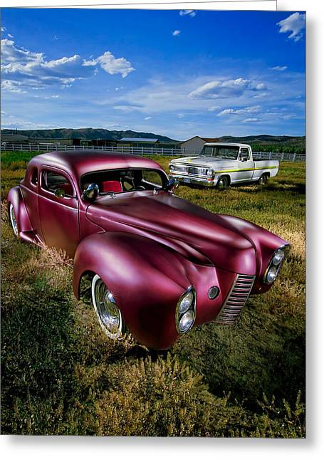 Custom Ford Greeting Cards - Millers Chop Shop 1940 Ford Coupe Greeting Card by YoPedro
