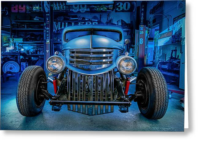 Hot Shop Greeting Cards - Millers Chop Shop 1946 Chevy Truck Greeting Card by Yo Pedro