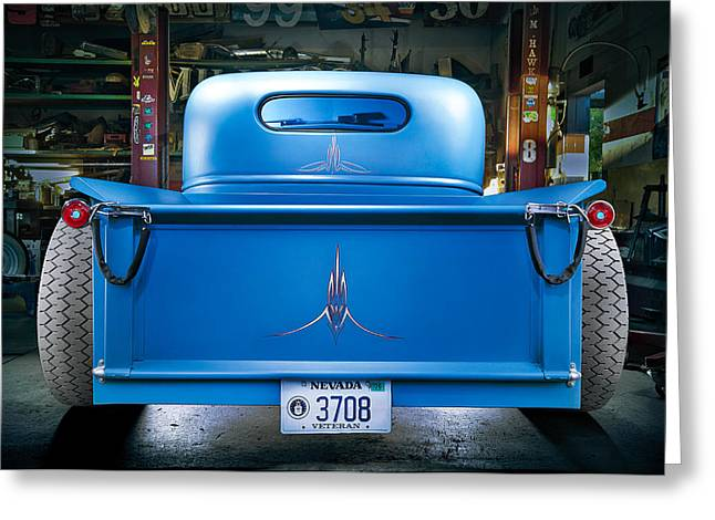 Antique Car Greeting Cards - Millers Chop Shop 46 Chevy Truck Rear Greeting Card by Yo Pedro