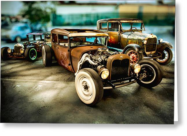Custom Ford Greeting Cards - Millers Chop Shop Model A Sedans Greeting Card by Yo Pedro