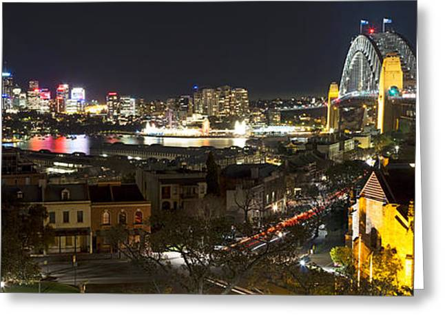 Nicholas Greeting Cards - Millers Point by Night - Panorama Greeting Card by Nicholas Blackwell