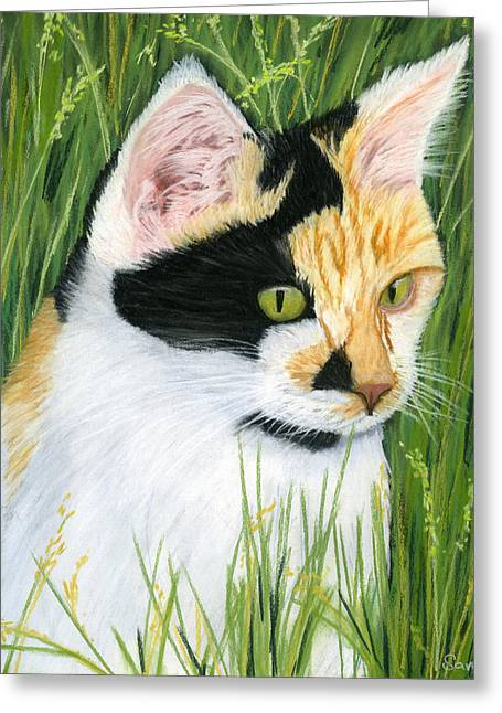 Cat Prints Pastels Greeting Cards - Millie the Adventurer Greeting Card by Sarah Dowson