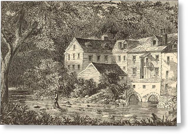 Grist Mill Drawings Greeting Cards - Mills at Rockland NY 1869 Engraving by John Filmer Greeting Card by Antique Engravings