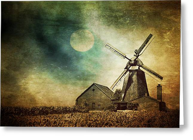 Europe Mixed Media Greeting Cards - Mill In The Night Greeting Card by Heike Hultsch