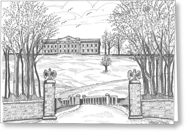 Historic Site Drawings Greeting Cards - Mills Mansion Staatsburg Greeting Card by Richard Wambach