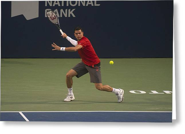 Atp Photographs Greeting Cards - Milos Forehand Smash Greeting Card by Bill Cubitt