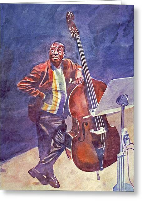 Stand Up Bass Greeting Cards - Milt Hinton Greeting Card by David Lloyd Glover