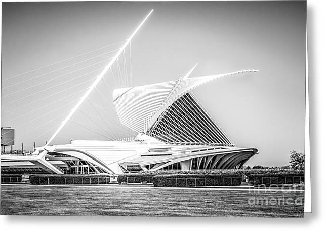 Milwaukee Art Museum Greeting Cards - Milwaukee Art Museum Picture in Black and White Greeting Card by Paul Velgos