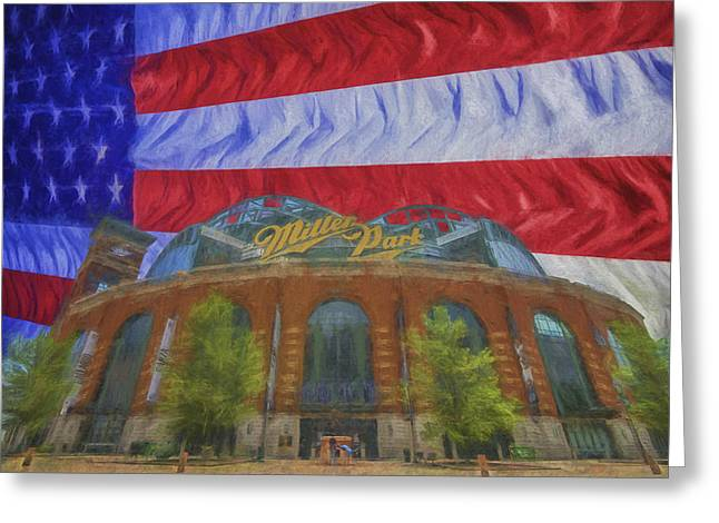 Miller Park Greeting Cards - Milwaukee Breers Miller Park Digitally Painted Flag 3 Greeting Card by David Haskett