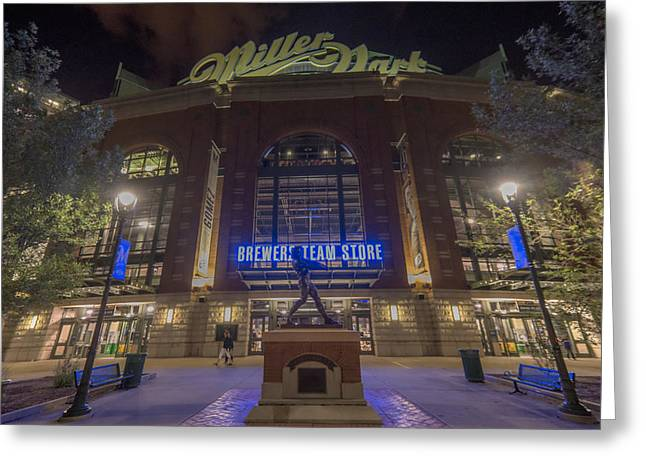 Miller Park Greeting Cards - Milwaukee Brewers Miller Park 2 Greeting Card by David Haskett