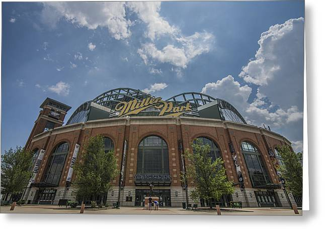 Miller Park Greeting Cards - Milwaukee Brewers Miller Park 4 Greeting Card by David Haskett