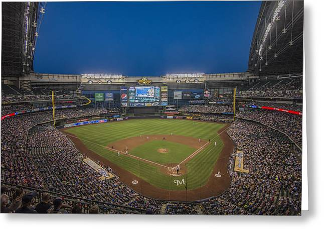 Miller Park Greeting Cards - Milwaukee Brewers Greeting Card by David Haskett