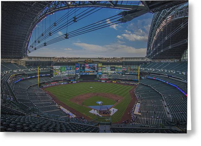 Miller Park Greeting Cards - Milwaukee Brewers Miller Park Empty Greeting Card by David Haskett