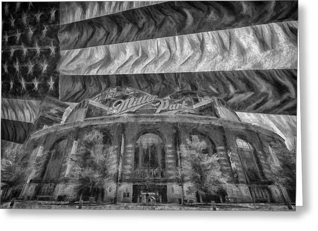Baseball Photographs Greeting Cards - Milwaukee Brewers Miller Park Flag BnW Painted Digitally 2 Greeting Card by David Haskett