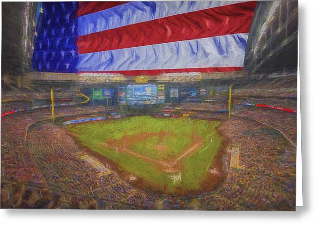 Baseball Photographs Greeting Cards - Milwaukee Brewers Miller Park Flag Digitally Painted 4 Greeting Card by David Haskett