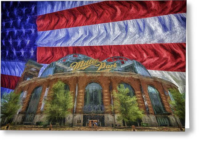 Miller Park Greeting Cards - Milwaukee Brewers Miller Park Flag Painted Digitally 1 Greeting Card by David Haskett
