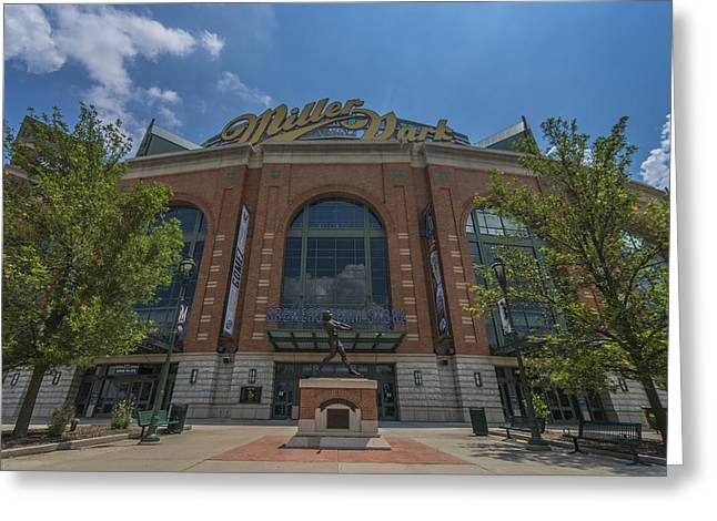 Baseball Photographs Greeting Cards - Milwaukee Brewers Miller Park Front Gate Greeting Card by David Haskett