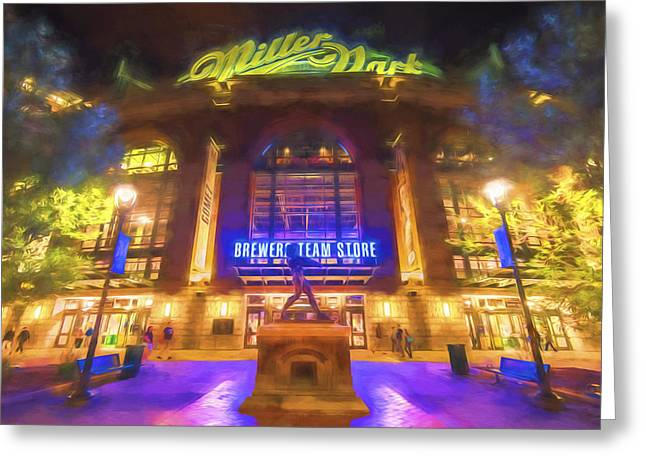 Baseball Photographs Greeting Cards - Milwaukee Brewers Miller Park Painted Digitally Greeting Card by David Haskett