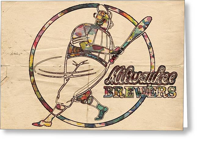 Bat Digital Greeting Cards - Milwaukee Brewers Vintage Art Greeting Card by Florian Rodarte