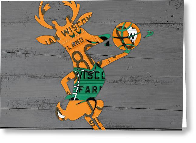 Basketball Team Greeting Cards - Milwaukee Bucks Basketball Team Logo Vintage Recycled Wisconsin License Plate Art Greeting Card by Design Turnpike