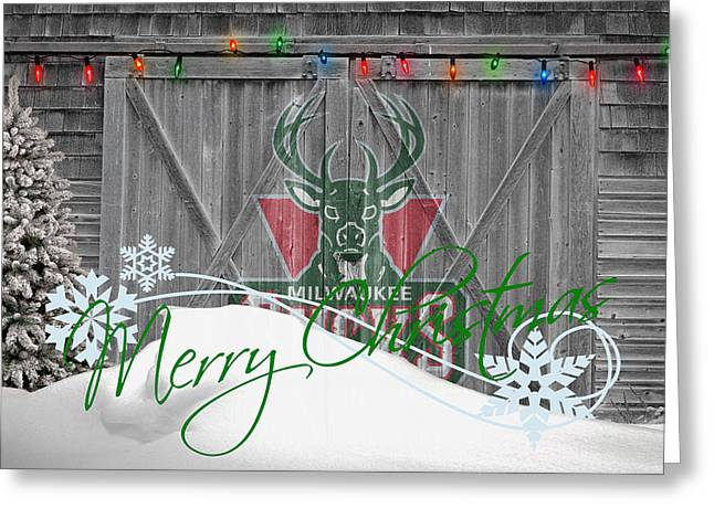 Basket Ball Greeting Cards - Milwaukee Bucks Greeting Card by Joe Hamilton