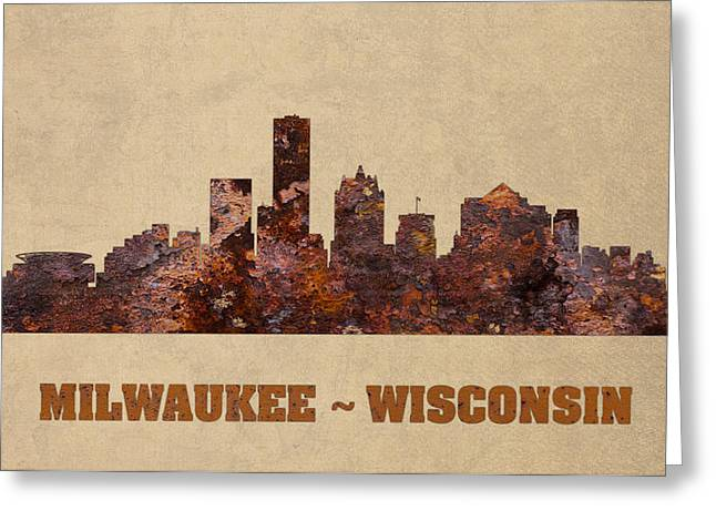 Milwaukee Greeting Cards - Milwaukee City Skyline Rusty Metal Shape on Canvas Greeting Card by Design Turnpike