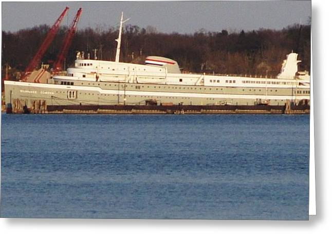 Ferryman Greeting Cards - Milwaukee Clipper In Her Berth At Muskegon Lake   Greeting Card by Rosemarie E Seppala