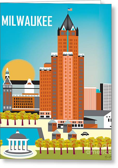 City Hall Digital Greeting Cards - Milwaukee Greeting Card by Karen Young