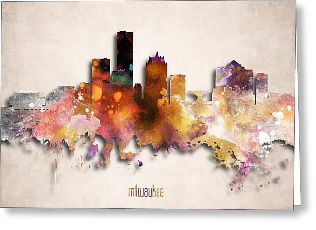 Milwaukee Skyline Greeting Cards - Milwaukee Painted City Skyline Greeting Card by World Art Prints And Designs