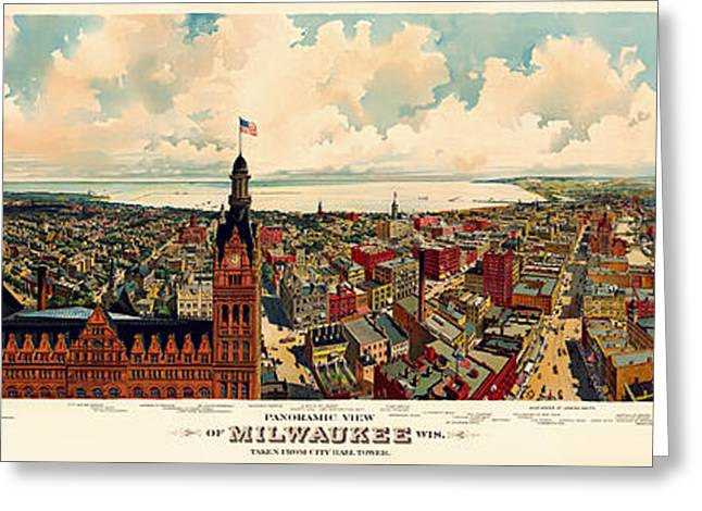 Downtown Drawings Greeting Cards - Milwaukee Panorama 1898 Greeting Card by Mountain Dreams